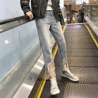 韩版时尚潮男修身浅色牛仔裤春夏季裤脚破洞毛边九分裤牛仔男裤装