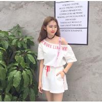 夏季新品韩版织带字母露肩上衣+阔腿短裤休闲运动套装女两件套潮 均码