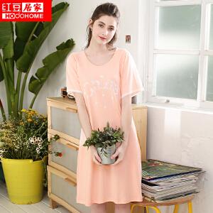 红豆居家女士睡衣春夏纯棉性感蕾丝印花短袖裙035