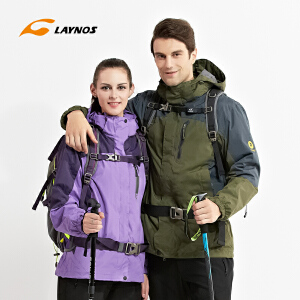 Laynos雷诺斯 冲锋衣两件套秋冬保暖三合一户外防水御寒冲锋衣
