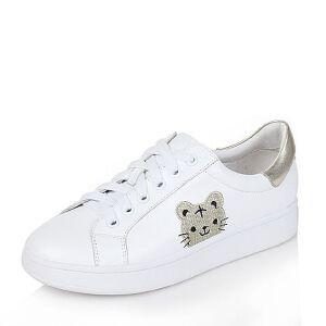 Tata/他她2017年春牛皮时尚系带老虎小白鞋女休闲鞋FR2X1AM7