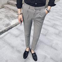 新款2018秋季潮流时尚个性刺绣男士休闲裤英伦修身型免烫小脚长裤
