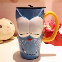 仟度彩绘陶瓷杯 创意时尚马克杯子带盖带勺咖啡杯 大容量卡通水杯