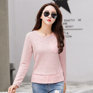 长袖t恤女外穿衣服秋季女装上衣体恤显瘦纯色打底衫秋装小衫