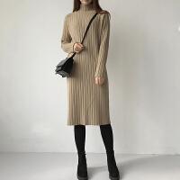 长款毛衣裙过膝针织连衣裙新款2018韩版宽松半高领女士毛衣中长款 均码