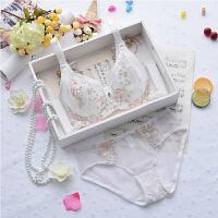 夏季薄模杯大码文胸套装款胖mm透明蕾丝边聚拢白色显胸小内衣 白色 套装