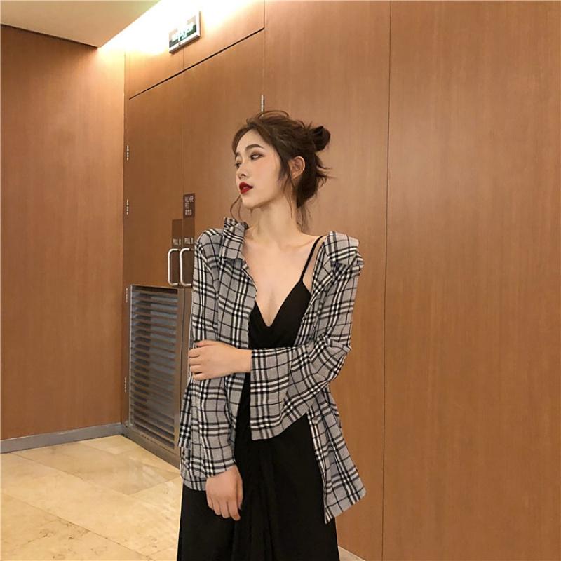 韩国chic翻领单排扣格子显瘦长袖衬衫女夏季宽松百搭薄款防晒衫潮 格子 均码 发货周期:一般在付款后2-90天左右发货,具体发货时间请以与客服协商的时间为准