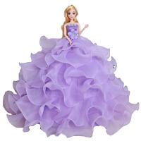 芭芘娃娃婚纱3D真眼六一儿童节生日礼物玩具闺蜜新娘白雪公主女孩 紫罗兰 高度45CM