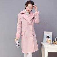 2018冬季女装冬天时尚百搭棉袄韩版中长款羊羔毛棉衣外套