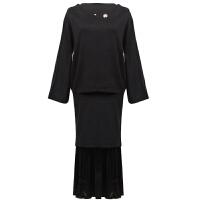 名媛气质小香风针织衫女套头秋装长袖毛衣百褶半身裙韩版两件套装