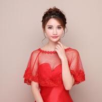 韩版红色蕾丝新娘结婚披肩婚纱斗篷春秋夏季胖mm遮手臂长袖薄款lj