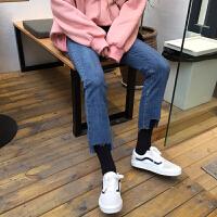牛仔裤女冬2018新款韩版显瘦不规则撕边缺口高腰铅笔裤紧身小脚裤