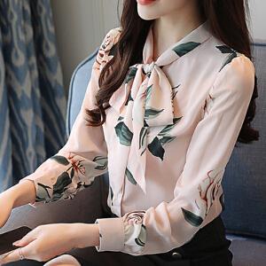 安妮纯碎花衬衫春装2020新款女时尚花衫夏季甜美遮肚子蝴蝶结洋气小衫