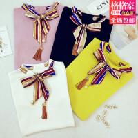 秋季新款时尚修身系带蝴蝶结针织打底衫短袖T恤女上衣E158