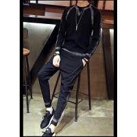 运动套装男士秋季新男式潮流新休闲跑步时尚运动服卫衣两件套 黑色