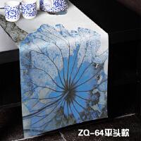 新中式青花瓷水墨蓝荷花桌旗莲花茶艺桌布��布床旗荷花床尾巾 灰色 ZQ-64平头款