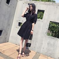 夏季新款韩版气质收腰显瘦A字裙高腰大摆裙中长款V领短袖连衣裙