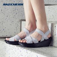 Skechers斯凯奇女鞋夏季新款时尚凉鞋 厚底坡跟透气凉拖 38658