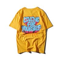 欧美街头港风字母印花彩色嘻哈短袖T恤男女情侣圆领半袖体恤tee潮
