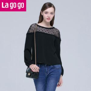 Lagogo2016春新款黑色圆领舒适宽松长袖泡泡袖性感露肩宽松上衣女
