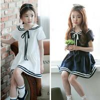 女童学院风连衣裙夏新款小女孩海军领中大童儿童裙子