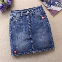 牛仔短裙女夏春装中腰复古百搭弹力修身显瘦包臀半身裙内衬防走 蓝色