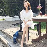 2018春秋韩版七分袖小香风v领白色蕾丝连衣裙女修身百搭缕空短裙
