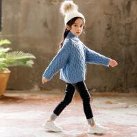 女童高领毛衣秋冬2018新款童装中大童麻花套头上衣儿童洋气针织衫