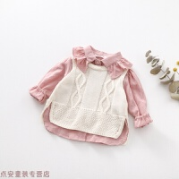 冬季儿童长袖衬衣两件套甜粉韩婴儿衣服线背心女童衬衫宝宝秋装秋冬新款 M码 参考身高约80-85cm