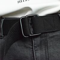 休闲帆布腰带通用双环扣皮带青少年学生时尚女生腰带男士裤带