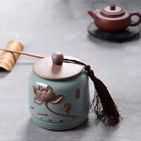 浮雕复古开片哥窑茶叶罐 陶瓷茶具茶叶密封普洱储物罐大号