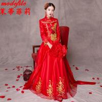 秀禾服 女士红色结婚上轿敬酒演出中式婚纱晚礼服女式复古嫁衣新娘立领长款婚庆时尚女装
