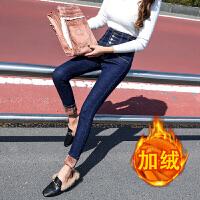 安妮纯高腰牛仔裤女冬装2019新款韩版显瘦铅笔裤紧身弹力黑色加绒小脚裤