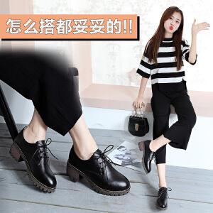 ZHR2018春季新款英伦风单鞋女粗跟小皮鞋复古中跟女鞋真皮休闲鞋E105
