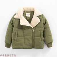 冬季儿童外套加厚保暖冬装新款男童羊拼接羔毛翻领夹克斜拉链上衣秋冬新款