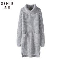 森马针织衫女2018冬季新款中长款保暖高领毛衣学生纯色大口袋上衣