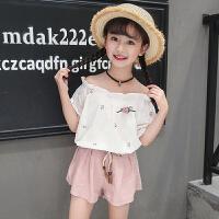 女童套装夏装新款印花中大童阔腿短裤花边泡泡袖上衣