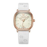 聚利时(Julius)新款皮带款手表清新印花表带花瓣形指针枕形表壳石英女表JA-970