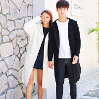 新款18秋冬男士韩版英伦连帽中长款针织衫潮流青年休闲毛衣外衣套