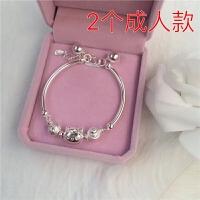 S925纯银手链女宝宝小孩转运珠银手镯儿童手环送闺蜜 一对