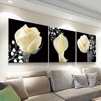 新款5d钻石画满钻石绣花卉欧式餐厅贴钻十字绣三联画客厅简约现代 三联画 圆钻满钻 总尺寸300x100厘米 单幅1