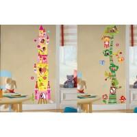家饰儿童房卡通墙贴纸 可移除客厅卧室长颈鹿量身高贴
