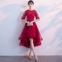 敬酒服新娘2018新款韩式优雅前短后长公主结婚晚礼服女红色春夏季