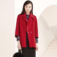 冬装新品中长宽松羊毛呢外套双面呢大衣女S640143D10