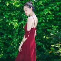 201804022103438夏季新品女装性感吊带雪纺长裙连衣裙波西米亚海边度假沙滩裙 红色 AQA637
