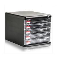 得力文件柜 得力9795 五层带锁 桌面文件柜 透明 文件橱 资料柜