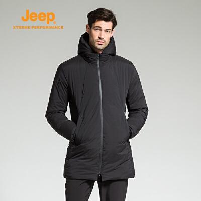 【特惠价】Jeep/吉普 男士户外防风保暖加厚宽松舒适中长款羽绒服J742094703 优质鸭绒 加厚保暖 舒适柔软