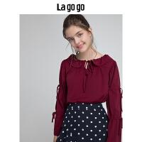 Lagogo/拉谷谷2019冬季新款娃娃领雪纺衫长袖上衣女HCSS539A11