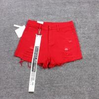 夏季新款红色毛边破洞牛仔短裤女夏大码时尚百搭宽松显瘦学生高腰阔腿热裤 红色