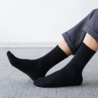 皮鞋袜子男士四季纯棉中筒袜全棉防臭休闲时尚黑色纯色商务长袜 均码